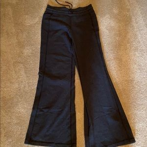 Dark gray flare pant with tie waist